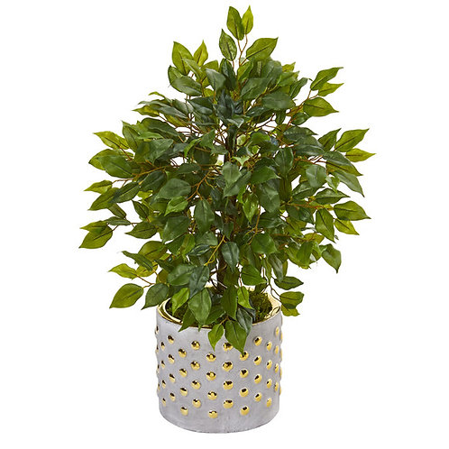 "17"" Mini Ficus Artificial Tree in Stoneware Vase with Gold Trimming"
