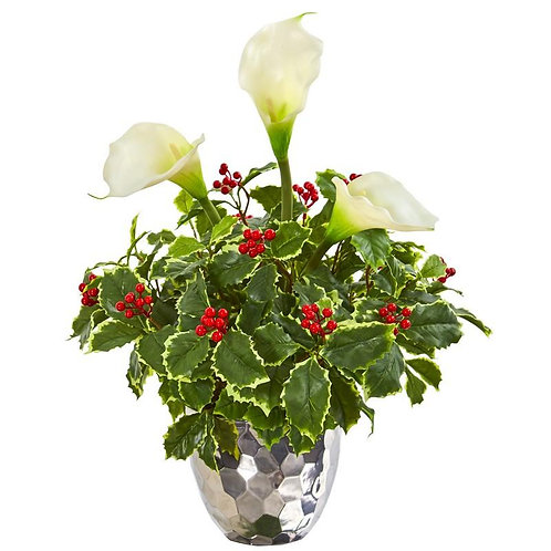Calla Lilly and Holly Leaf Artificial Arrangement in Silver Vase