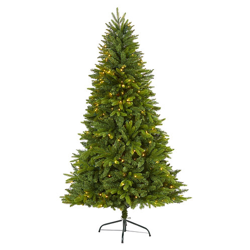 6' Sun Valley Fir Artificial Christmas Tree with 300 Clear LED Lights