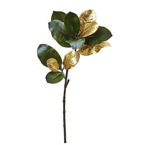 """32"""" Golden Magnolia Leaf Artificial Stem (Set of 3)"""
