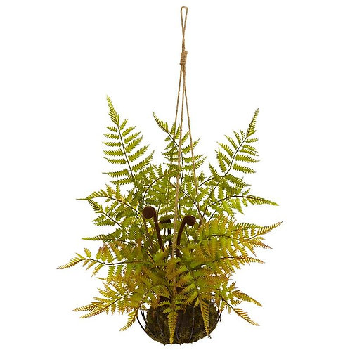 "21""  Fern Artificial Plant in Metal Hanging Basket"