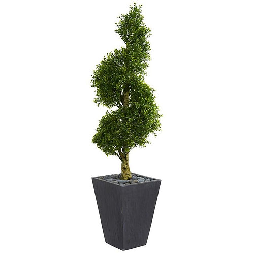 5' Boxwood Spiral Topiary Artificial Tree in Slate Planter UV Resistant