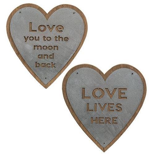 *Love Lives Here Metal Heart Sign 2 Asst.