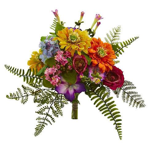 "13""  Mixed Flowers Artificial Bush (Set of 2)"