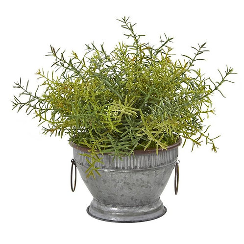 """14""""  Rosemary Artificial Plant in Vintage Metal Bowl with Copper Trimming"""