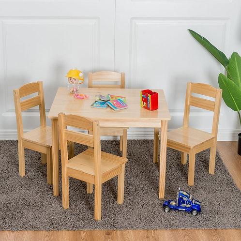 5 pcs Kids Pine Wood Table Chair Set-Natural