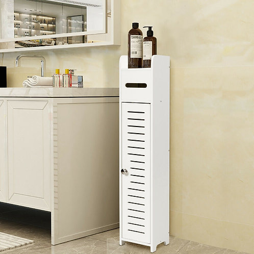 Small Bathroom Storage Corner Floor Cabinet-White