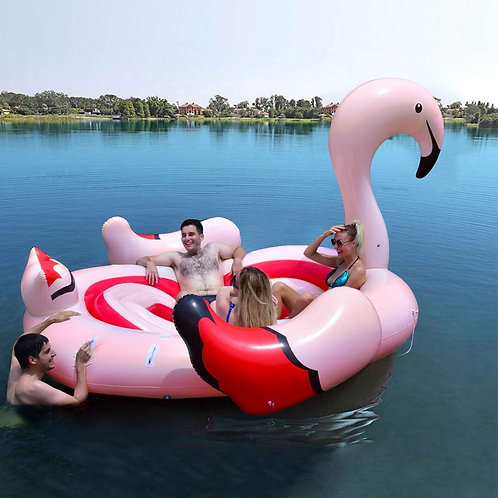 6-Person Inflatable Flamingo Floating Island With Electric Pump