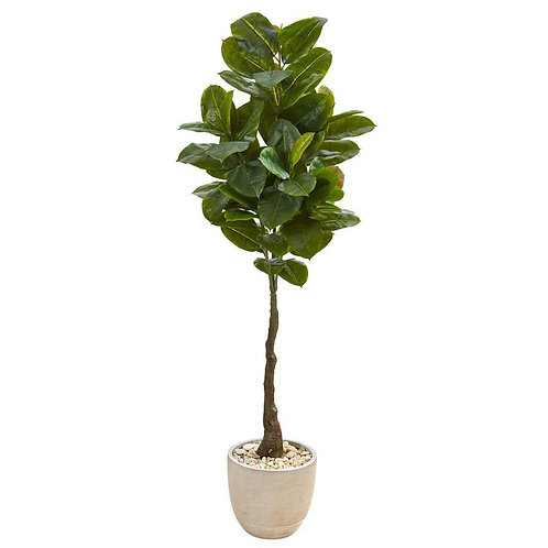 "67""  Rubber Leaf Artificial Tree in Sandstone Planter (Real Touch)"