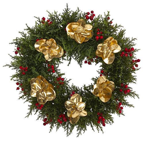 """20"""" Cedar Berry and Metallic Eucalyptus Artificial Wreath"""