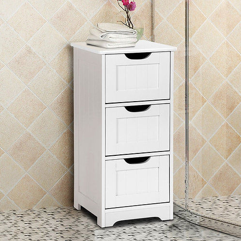 Bathroom Wooden Free Standing Storage Side Floor Cabinet Organizer-3-Tier