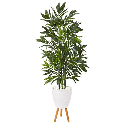 """53"""" Bamboo Palm Artificial Tree in White Planter with Stand"""