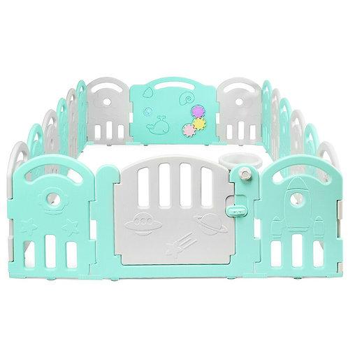 18-Panel Baby Playpen with Music Box & Basketball Hoop-Gray