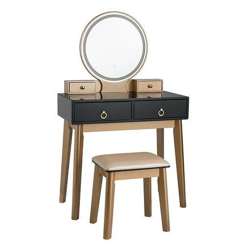 Makeup Vanity Table Set 3 Color Lighting Dressing Table-Black