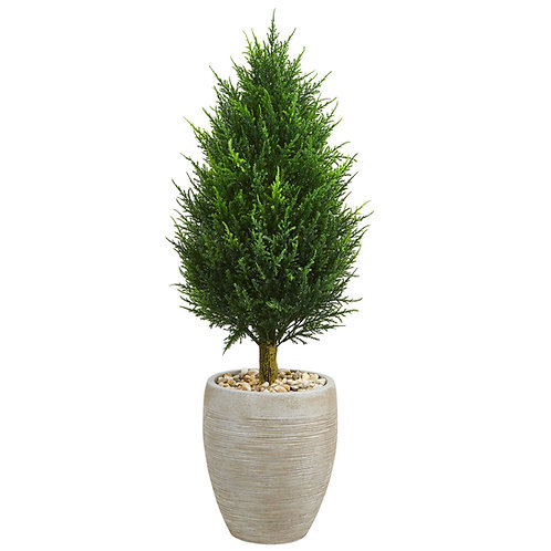 40' Cypress Cone Artificial Tree in Sand Colored Oval Planter UV Resistant
