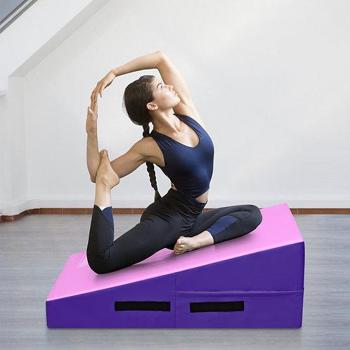 Incline Gymnastics Mat Wedge Ramp Gym Tumbling Exercise Mat-Pink & Purple