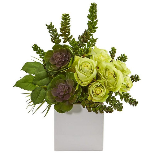 """14"""" Rose & Succulent Artificial Arrangement in White Vase"""