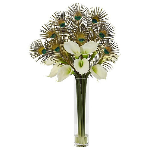 """36""""  Peacock and Calla Lily Artificial Arrangement in Cylinder Glass"""