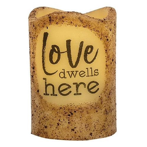 "Pack of 2 Love Dwells Here Pillar 3x4.5"""