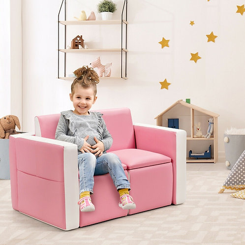 Multi-functional Kids Sofa Table Chair Set-Pink