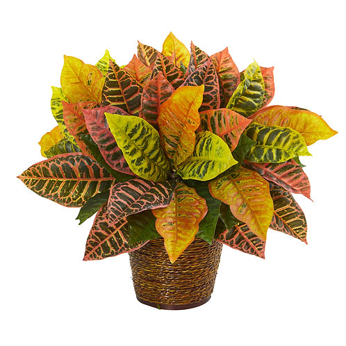 """17""""  Garden Croton Artificial Plant in Basket (Real Touch)"""