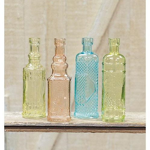 "6-1/2"" Decorative Glass Bottle 4 Asst"