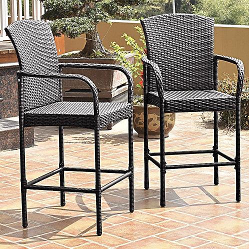 2 pcs Outdoor Rattan Set High Chairs