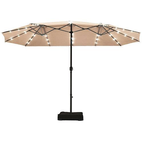 15 Ft Solar LED Patio Double-sided Umbrella Market Umbrella-Beige