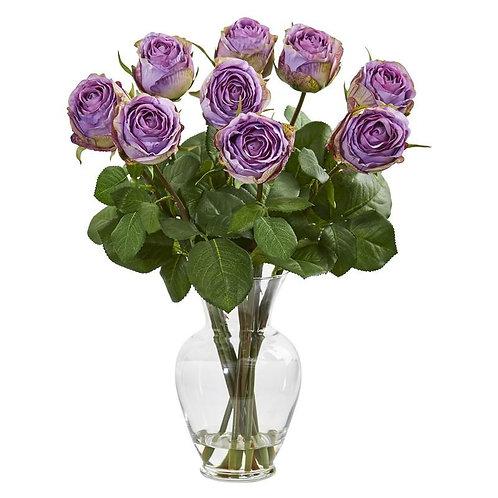 "19""  Rose Artificial Arrangement in Glass Vase"