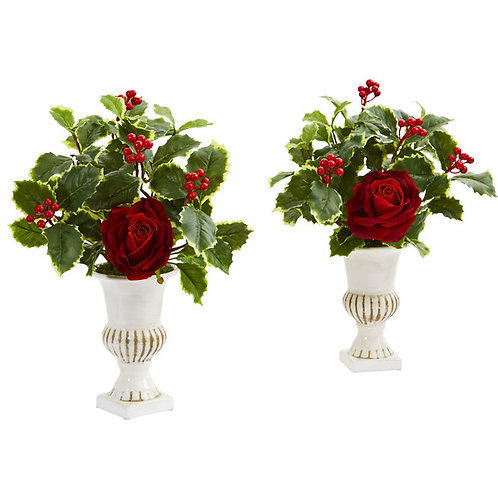 """15"""" Rose and Holly Leaf Artificial Arrangement in White Urn (Set of 2)"""