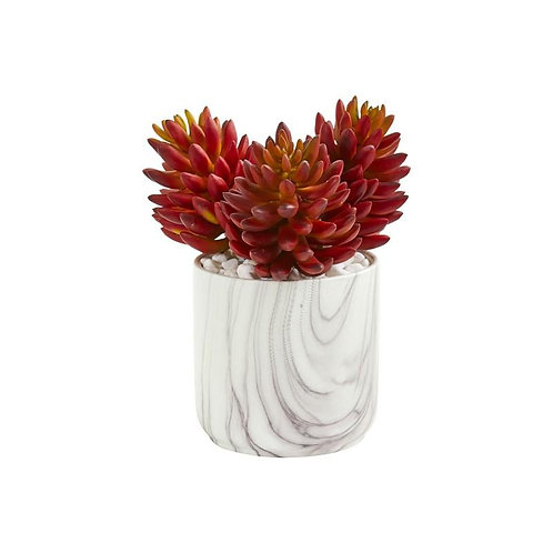 10' Succulent Artificial Plant in Marble Finish Vase