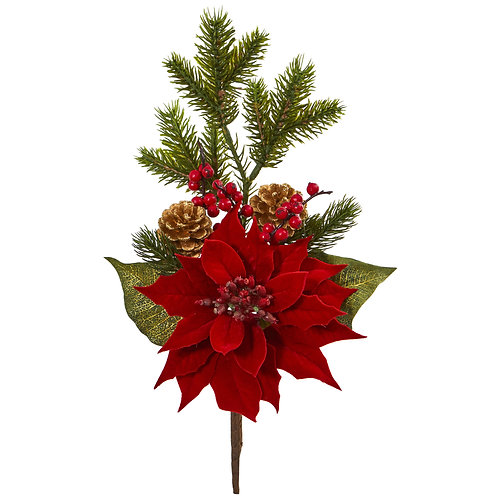 """17"""" Poinsettia, Berry and Pine Artificial Flower Bundle (Set of 6)"""