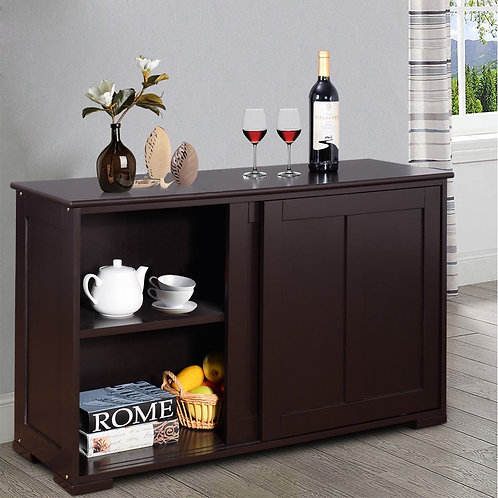 Kitchen Storage Cabinet with Wood Sliding Door-Brown