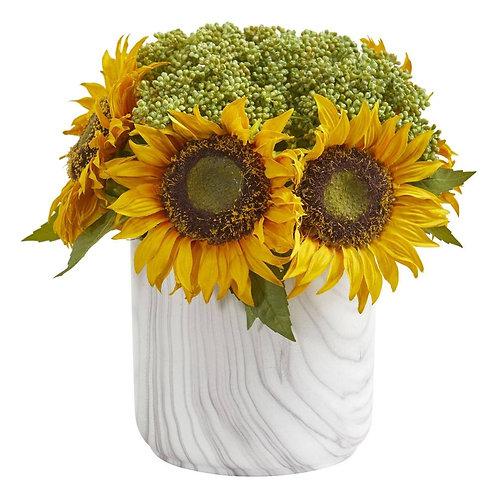 Sunflower Artificial Arrangement in Marble Finished Vase