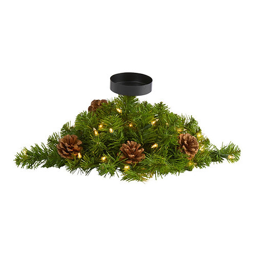 """16"""" Christmas Pine Candelabrum with 35 Lights and Pine Cones"""