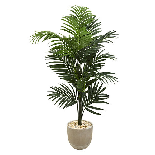 "62"" Kentia Artificial Palm Tree in Sandstone Planter"