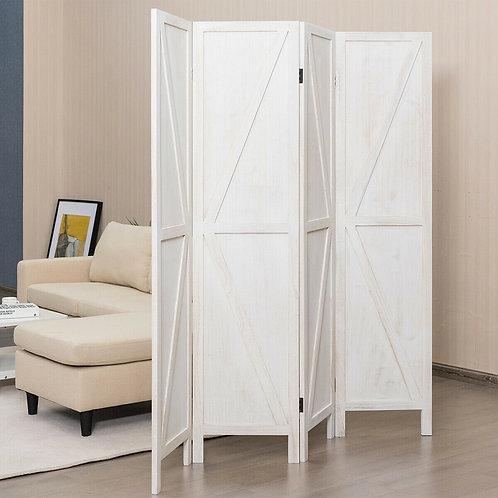 4 Panels Folding Wooden Room Divider-White
