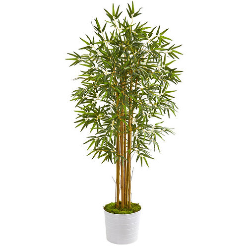 5' Bamboo Artificial Tree in White Tin Planter