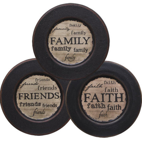 """*Distressed Faith Family Friends Plate 5-3/4"""" - Assorted"""