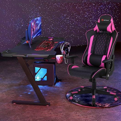 Massage Gaming Chair with Lumbar Support and Headrest-Pink