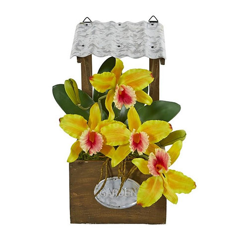"14""  Cattleya Orchid Artificial Arrangement in Tin Roof Planter"