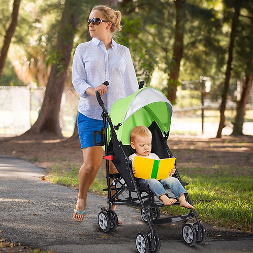 Folding Lightweight Baby Toddler Umbrella Travel Stroller-Green