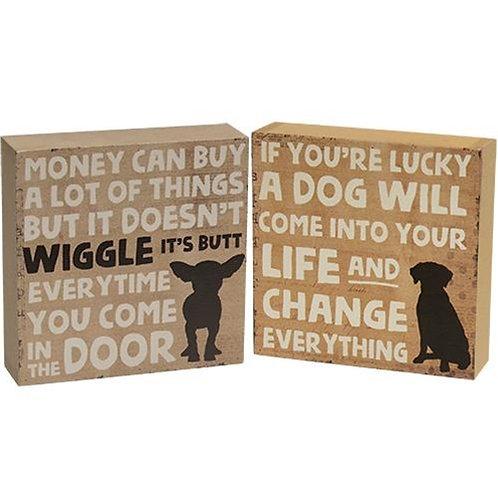 Lucky Dog Box Sign 2 Asstd.