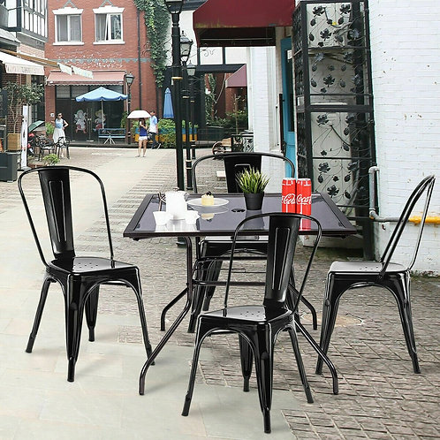 Set of 4 Tolix Style Dining Chair Stackable Bistro Chair-Black