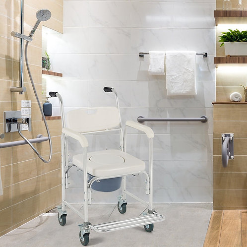 Medical Commode Toilet Seat Shower Wheelchair with Locking Casters