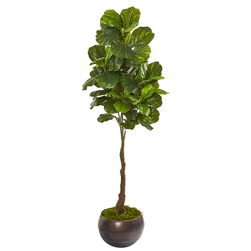 """66""""  Fiddle Leaf Artificial Tree in Metal Bowl (Real Touch)"""