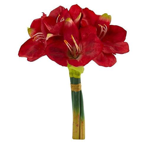 "14""  Amaryllis Bouquet Artificial Flower (Set of 3"