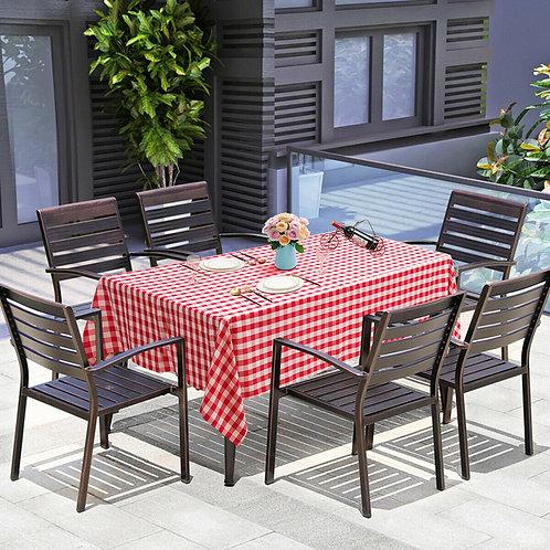 "10 Pcs 60"" x 102"" Rectangular Polyester Checker Kitchen Tablecloth-Red"