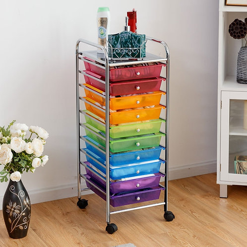 10 Drawer Rolling Storage Cart Organizer-Color