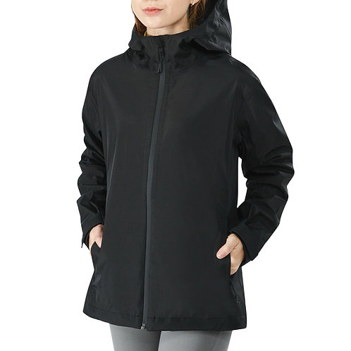 Women's Waterproof & Windproof Rain Jacket with Velcro Cuff-Black-XL
